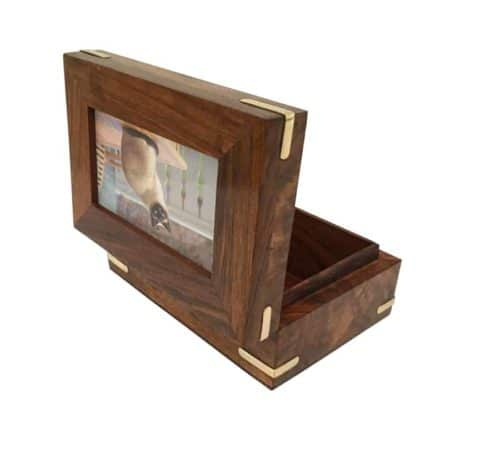 Pet Cremation Urn – Wood & Brass Box with Photo Display