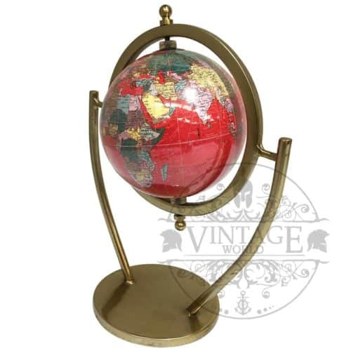 Red world globe brass antique finish gift